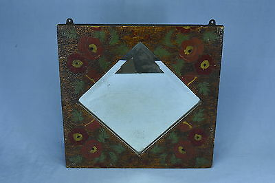 Antique FLEMISH ART PYROGRAPHY HALL MIRROR BURNED CARVED PAINTED FLOWERS LEAVES