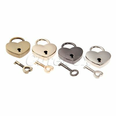 Vintage Heart Shape Padlock with Key Tiny Suitcase Crafts Lock Set Lovers Gifts