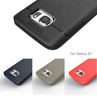 For Samsung Note8 S7 S8 S9 A5 A7 Slim Litchi Pattern Back Skin TPU Case Cover