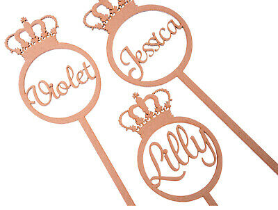 MDF Wooden Personalised Birthday Wand Shape Princess Fairy Wand with Crown