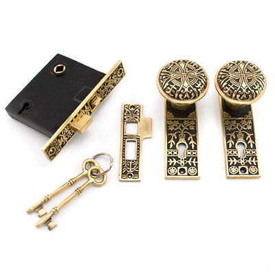 Signature Hardware Pot of Flowers Mortise Lock Set Privacy in Blackened Brass