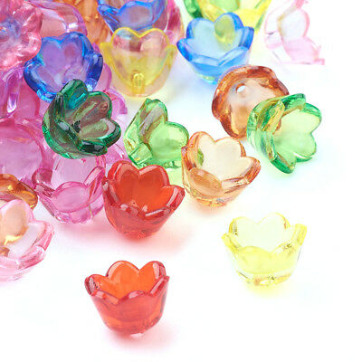 1900pcs/500g Colorful Transparent Acrylic Flower Beads Loose Bead Caps 10x6mm