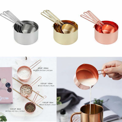 4Pcs Luxury Stainless Steel Measuring Cups Copper Plated Kitchen Measuring Set