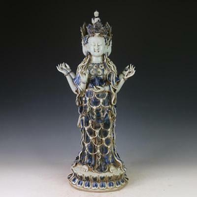 Ancient Antiques Chinese Blue and white porcelain The three face Buddha