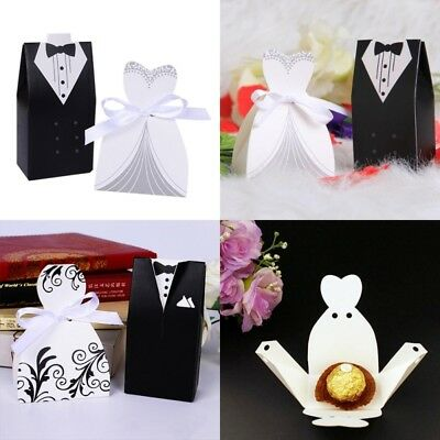 100PCS Marriage Bride and Groom Gift Candy Boxes Wedding Party Favor with Ribbon