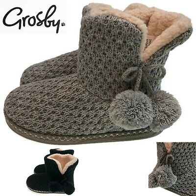 GROSBY Invisible Support Tina Knitted Slippers Boots Memory Foam Shoes Pom Pom