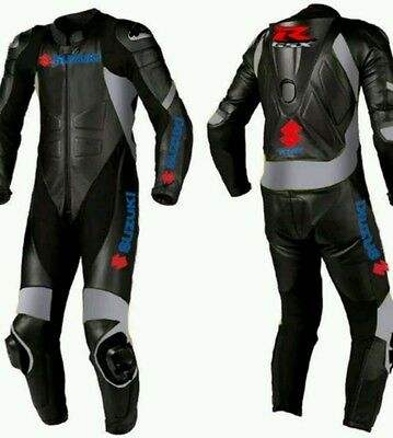 SUZUKI BLACK MotoGp MOTORCYCLE RACING SUIT - CE APPROVED FULL PROTECTION