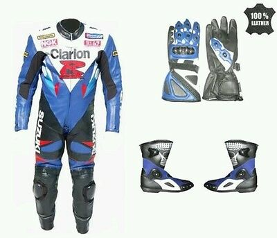 SUZUKI MotoGp MOTORBIKE/CYCLE RACING LEATHER SUIT,SHOES & GLOVES-FULL PROTECTION