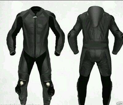 Black Motorbike/motorcycle Purecow Leather Suit- Ce Approved Full Protection