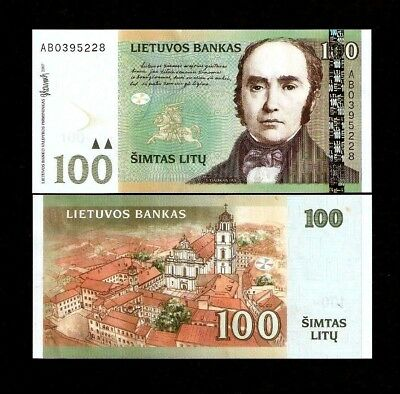 Lithuania 100 Litu P70 2007 Euro Horse Unc Old Town Rare Currency Money Banknote