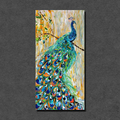 Luminous Single-Panel Perching Peacock Hand-painted Canvas Wall Art Home Decor
