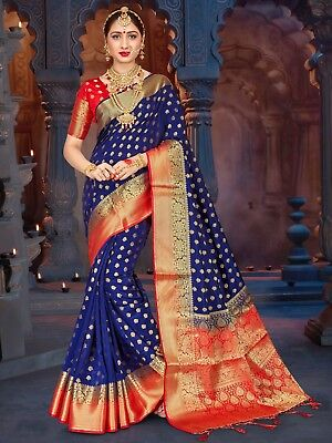 Traditional Ethnic Women Saree Navy Blue Banarasi Art Silk Woven Sari  -1054