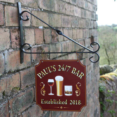 Personalised Hanging Bar sign, Gin Bar Sign, Pub Man Cave Home Bar Garden Sign