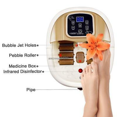 Heat LED With Infrared & Bubbles Foot Spa Bath Massager 8 Rollers Massage