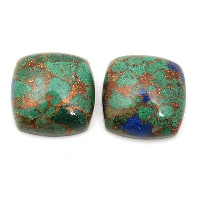 22 Cts AZURITE Copper Mohave Gemstone Cushion 1 Pair Cabochon 14x14 mm S-29021