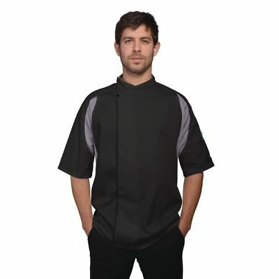 Le Chef Staycool Executive Unisex Tunic Jacket Top Short Sleeve Black Work