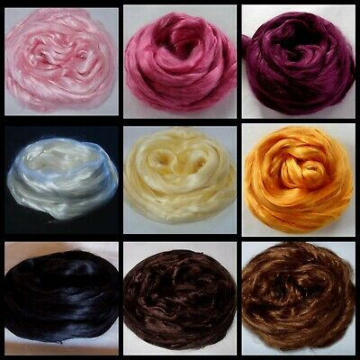 Choose your color mulberry silk roving combed top fiber felting doll hair 0.7oz