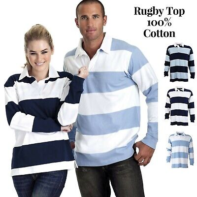 Identitee Men's Striped RUGBY TOP 100% Cotton Long Sleeve Pullover Polo Shirt