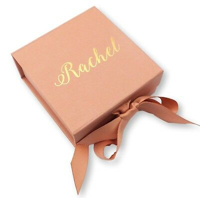 Personalised Name Rose Gold Gift Box Ribbon Gold Foil Print Wedding Birthday