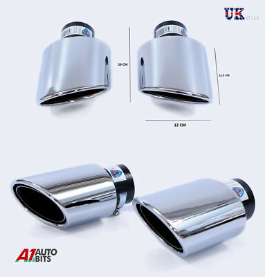 Sport Chrome Universal Dual Twin Muffler Tip Trim Exhaust Tail Pipe Fit 38-65 Mm