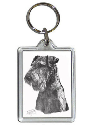 Mike Sibley Airedale Terrier Quality Acrylic Keyring 50mm x35mm - Dog Lover Gift