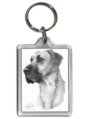 Mike Sibley Great Dane Quality Acrylic Keyring 50 mm x 35 mm - Dog Lover Gift