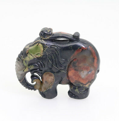 hand carved natural red green clouds stone jade lovely elephant pendant P270