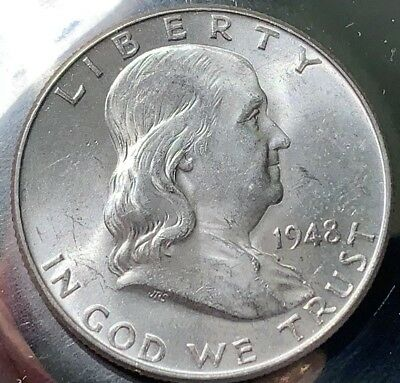 1948-P FRANKLIN Silver Half BU Choice 402