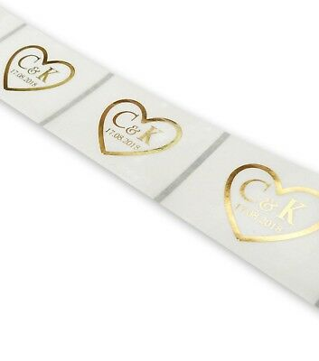 50 X CUSTOM CLEAR STICKERS PERSONALISED GOLD HEART INITIALS