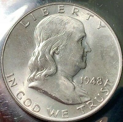 1948-P FRANKLIN Silver Half BU Choice 400