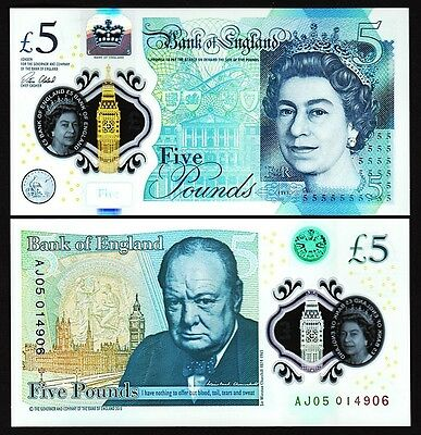 Great Britain England Uk 5 Pounds 2016 Unc Qe Ii - Churchill Polymer P.new