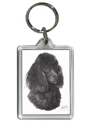 Mike Sibley Poodle Quality Acrylic Keyring 50 mm x 35 mm - Ideal Dog Lover Gift