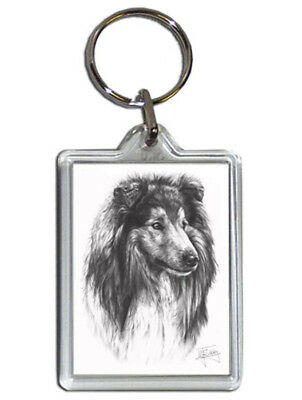 Mike Sibley Rough Collie(1) Quality Acrylic Keyring 50mm x 35mm - Dog Lover Gift
