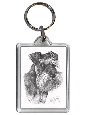 Mike Sibley Schnauzer Quality Acrylic Keyring 50mm x 35mm - Ideal Dog Lover Gift