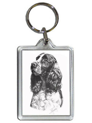 Mike Sibley English Springer Spaniel Quality Acrylic Keyring 50mm x 35mm - Gift