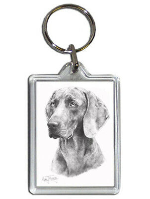 Mike Sibley Weimaraner Quality Acrylic Keyring 50mm x35mm - Dog Lover Gift