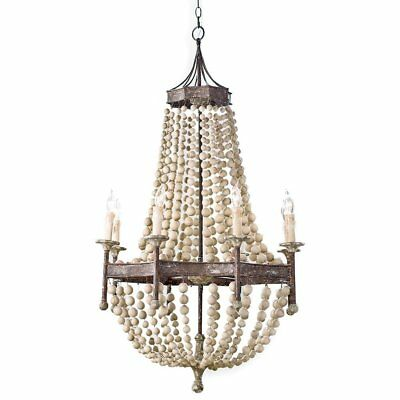 """French Country Ceiling Light Antique Scalloped Bead Lamp Wooden 30"""" Chandelier"""