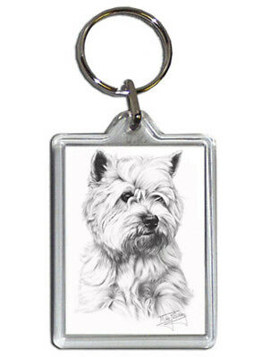 Mike Sibley West Highland Terrier/Westie Quality Acrylic Keyring 50mm x35mm-Gift