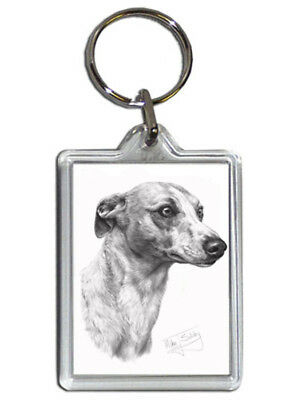Mike Sibley Whippet Quality Acrylic Keyring 50 mm x 35 mm - Ideal Dog Lover Gift