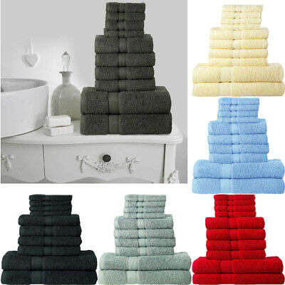 Luxury Towel Bale Set 100% Egyptian Cotton 10Pc Face Hand Bath Bathroom Towels