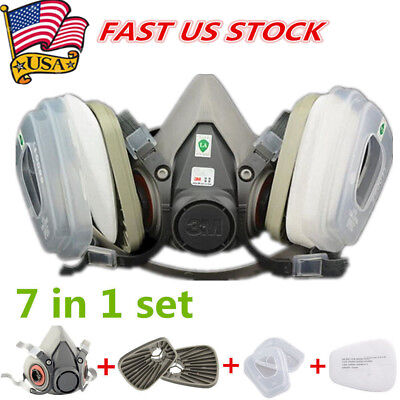 7 in 1Set half Face Mask For 3M 6200 Gas Painting Spray Protection Respirator US