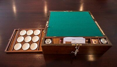 Artists antique slope lap desk with locking lid and numerous compartments