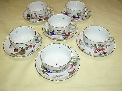 "5 Vintage Herend, ""Market Garden"" Hand Painted Porcelain Cups And Saucers"