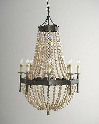 """French Country Antique Pendant Scalloped Wooden 30"""" Chandelier Ceiling Light"""
