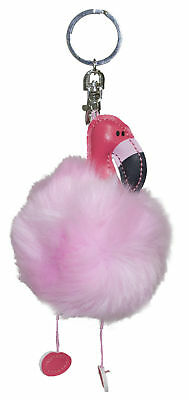 Fun and Tacky Fuzzy Flamingo Key Chain/ Backpack Clip w/ Dangle Legs