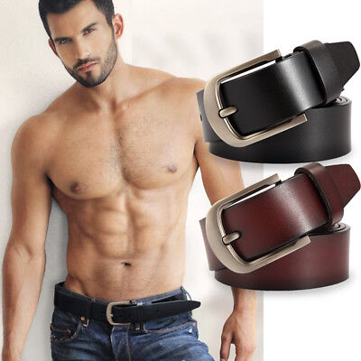 Mens 100% Cowhide Genuine Leather Buckle Belts Formal & Casual Jeans C34