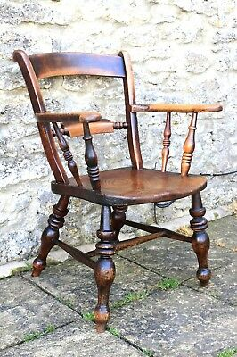 Antique Elm And Turned Oak Bow Captainu0027s Chair C1850