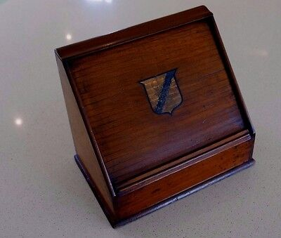 Victorian Mahogany Desk Top Stationery Box With Crested Rolltop Tambour Front