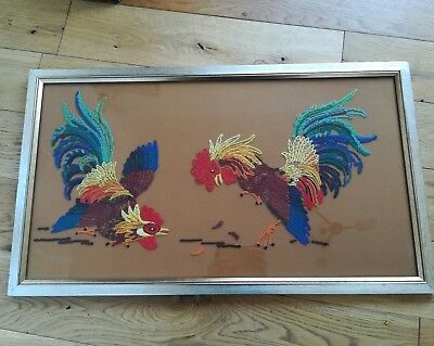 Large Vintage Mid Century Tapestry Fighting Cockerals Framed 1960's