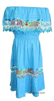 4c03e9ac6a0dd Turquoise w White CROCHET MEXICAN DRESS Embroidered ONE SIZE Fits M-XL 5 De